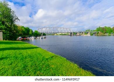 View of lake and a train bridge in Savonlinna, Finland