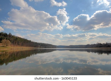 view of lake twistesee in spring, germany