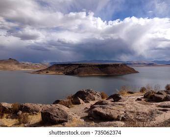 View of Lake Umayo from Sillustani near Puno, Peru