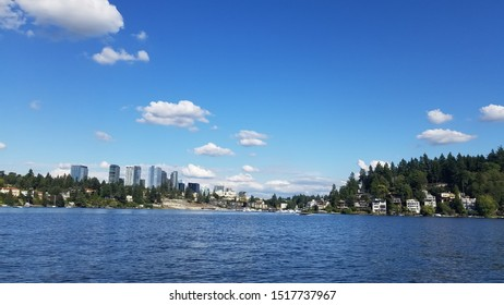 View of the Lake Washington and landscape downtown in Seattle.