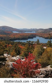 View of the lakes, rocky hills and colourful forest at Killarney Provincial Park, Ontario, Canada