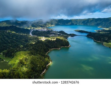 View of lakes in Sete Cidades on San Miguel island, Azores - Portugal.