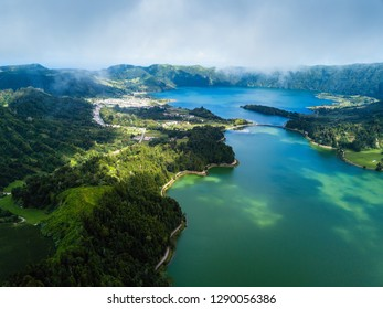 View of the lakes in Sete Cidades volcanic craters on San Miguel island, Azores - Portugal.