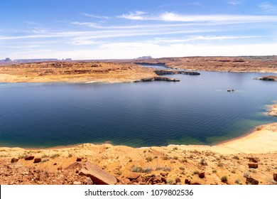 View from Lakeshore drive to Powell Lake between Wahweap and Antelope Point Marinas, Arizona, USA