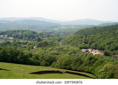 View of Lakeside & Haverthwaite Railway Station from Backbarrow, Lake District, Cumbria, UK, May 2018