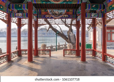 View from a lakeside pavilion at Beihai Park, Beijing, China in March 2018.