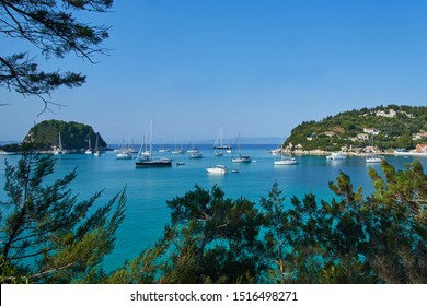 View of Lakka harbour on Paxos in Greece