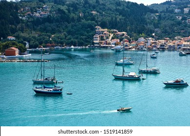 View of Lakka harbour and yachts at Lakka harbour in Paxos, Greece