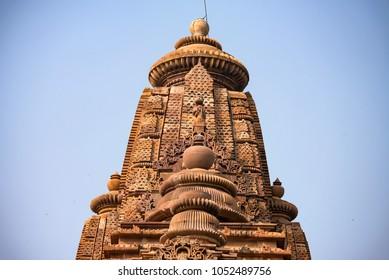 View of Lakshmana Temple spire in Khajuraho, India