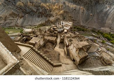 view of Lamayuru monastery Beautiful aerial view of moonland , Himalayan mountain background, Ladakh,Jammu and Kashmir, India. Lamayuru is a Tibetan Buddhist monastery at a height of 3,510 metres.