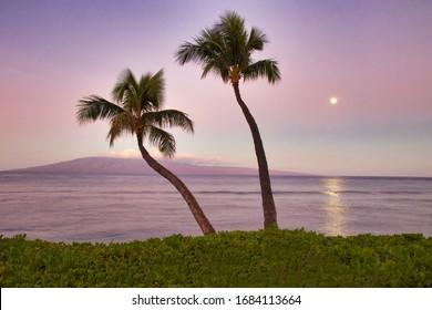 View of Lanai from Ka'anapali Beach on Maui.