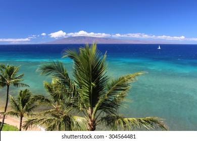 View of Lanai from Maui beach, Hawaii