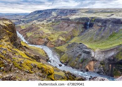 View of Landmannalaugar canyon in Iceland