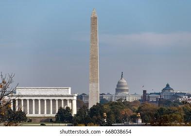View of landmark buildings in Washington DC, USA