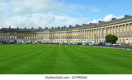 View of the Landmark Royal Crescent Seen from Victoria Park in Bath in Somerset England