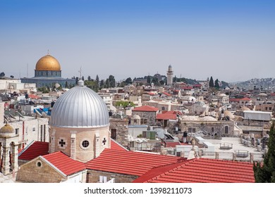 View of the landmarks of Jerusalem Old City, Israel.