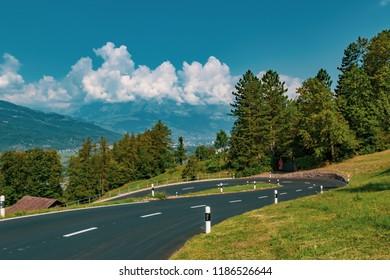 View of the landscape in the Alpine Principality of Liechtenstein
