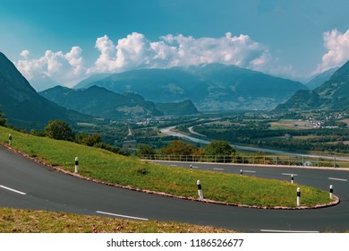 View of the landscape in the Alpine Principality of Liechtenstein across the border into Switzerland