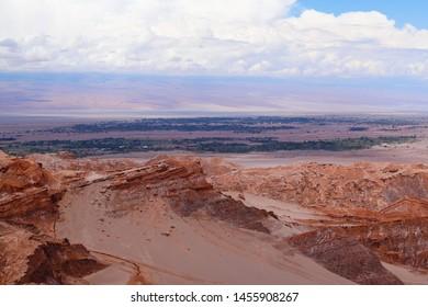 View of the landscape of the Atacama Desert. The oasis of San Pedro de Atacama, Cordillera de la Sal, Atacama Desert, Chile