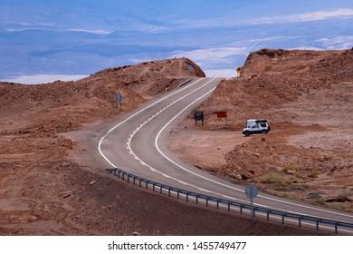 View of the landscape of the Atacama Desert. The road from San Pedro de Atacama to Calama, Cordillera de la Sal, Atacama Desert, Chile - February, 2019