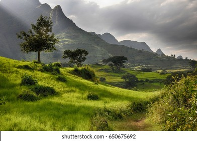 View of landscape below Simien mountains park, Ethiopia.