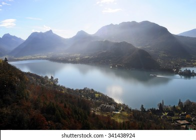 View landscape of blue Annecy lake in France and mountains