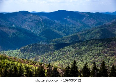 view of landscape of the carpathian mountains, national park Skolevski beskidy, Lviv region of Western Ukraine