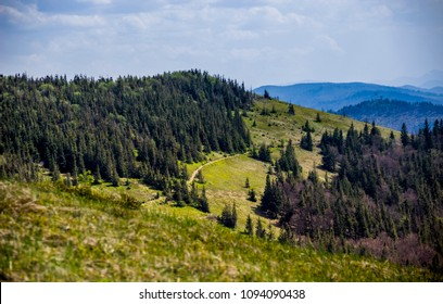 view of landscape of the carpathian mountains from peak of Parashka mount, national park Skolevski beskidy, Lviv region of Western Ukraine