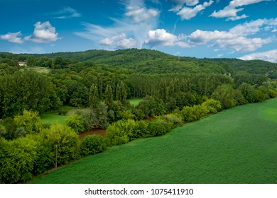 View of the landscape in Dordogne, France