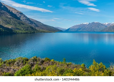 View of the landscape of the lake Wakatipu, Queenstown, New Zealand. Copy space for text