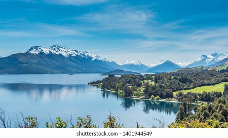 View of the landscape of the lake Wakatipu, Queenstown, New Zealand