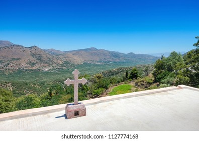 View of the landscape from the monastery of Saints Michael and Gabriel - Kremaston (Kremasti, Kremasta) Crete, Greece. The monastery Kremaston was founded in the 16th century (1593)