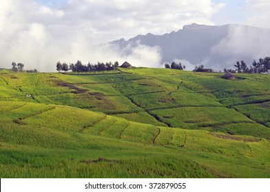 View of landscape on Simien mountains park, Ethiopia.
