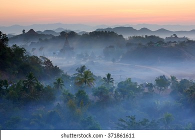 View of landscape with pagodas at dawn light in Mrauk-U, Myanmar