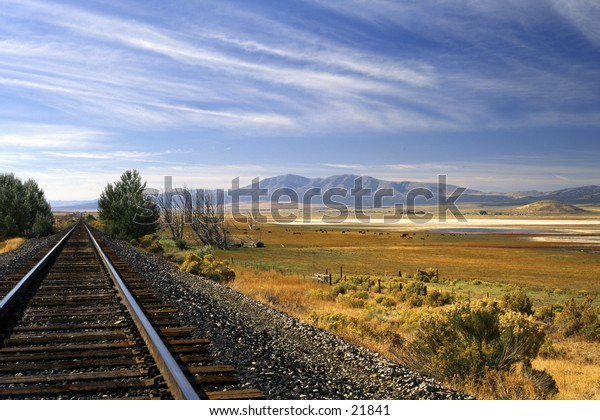 View of landscape from railroad tracks