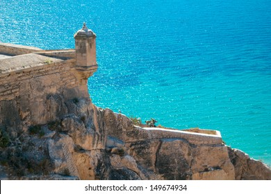 View of the landscape of the sea from the castle of Alicante, Spain