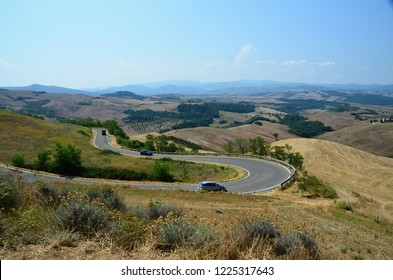 View of the landscape in Tuscany near Volterra Italy