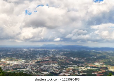 View from Lang Biang mountains or roof of dalat city in Dalat, South Vietnam