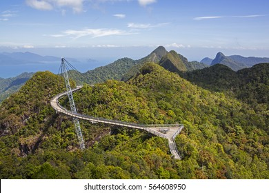 View of Langkawi Sky Bridge and rain forest from a higher  point