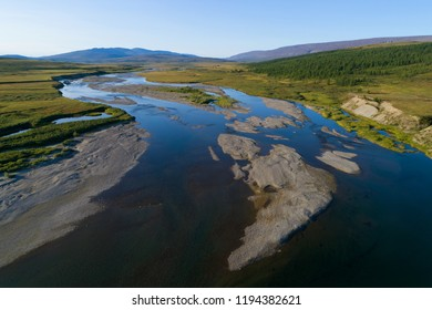 View of the Langotegan River (survey from a quadrocopter). Yamal, Russia