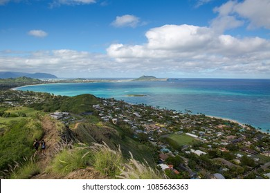 View of Lanikai from the Pillbox hiking trail Kailua Hawaii in December