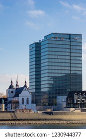 View of the Lanxess Building and the Abbey Deutz in Cologne Germany 2018.