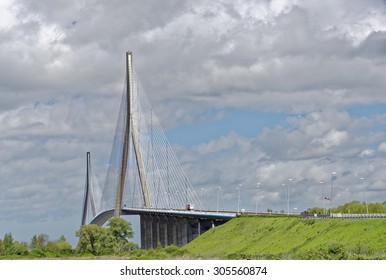 View of the large cable-stayed bridge, Pont de Normandie, which spans the River Seine near Honfleur in Normandy, France
