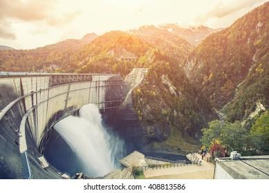 View of large dam in Japan,Kurobe Dam, Japan Alp, Japan,selectivefocus,vintage color