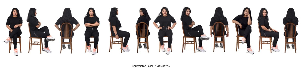 view of large group of same woman of back, front and side with sportswear on white background