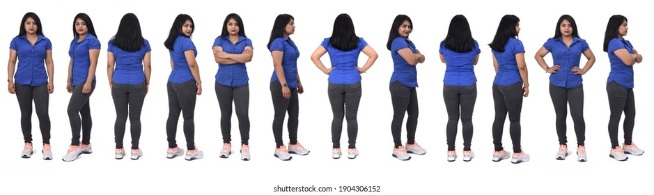 view of large group of same woman of back, front and side with casual clothes on white background