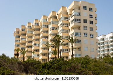 View of a large holiday hotel in the holiday resort Cala Millor on the Spanish Baleran island Mallorca