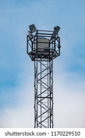 View of large surface lighting tower isolated