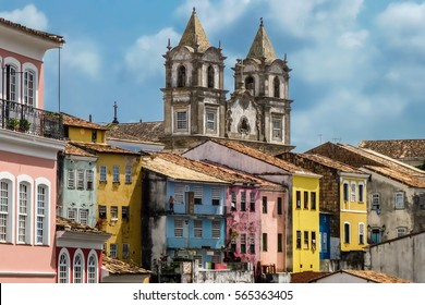 View from Largo do Pelourinho, colonial architecture - churches and buildings under bright blue sky, Salvador da Bahia