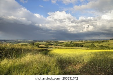 View from Lark Stoke near Ilmington, over Warwickshire landscape, England.